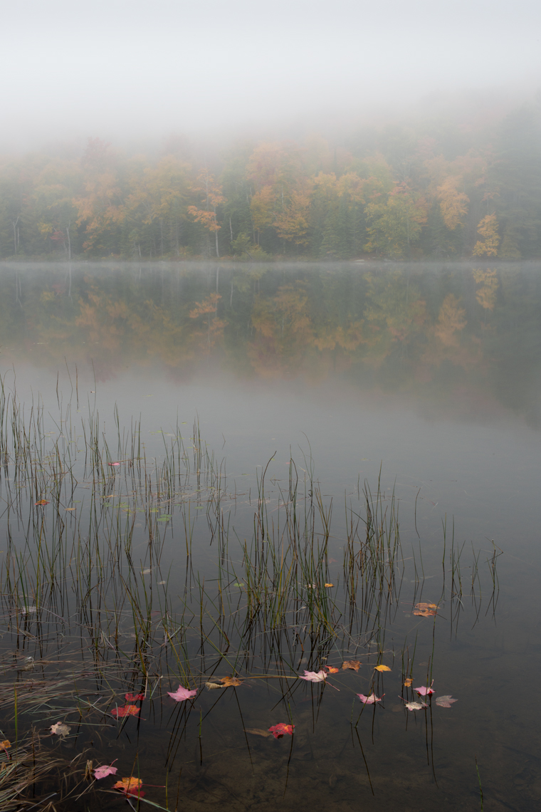 Autumn Mist on Balfour Lake, Adirondack Mountains, New York State