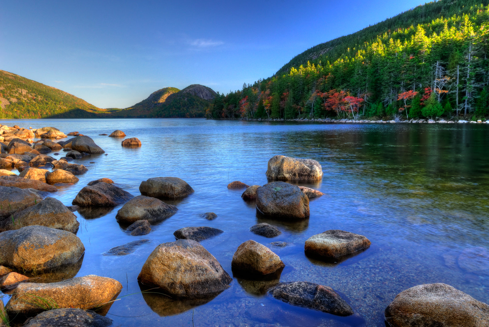 Autumn morning along Jordan Pond, Acadia National Park, Maine
