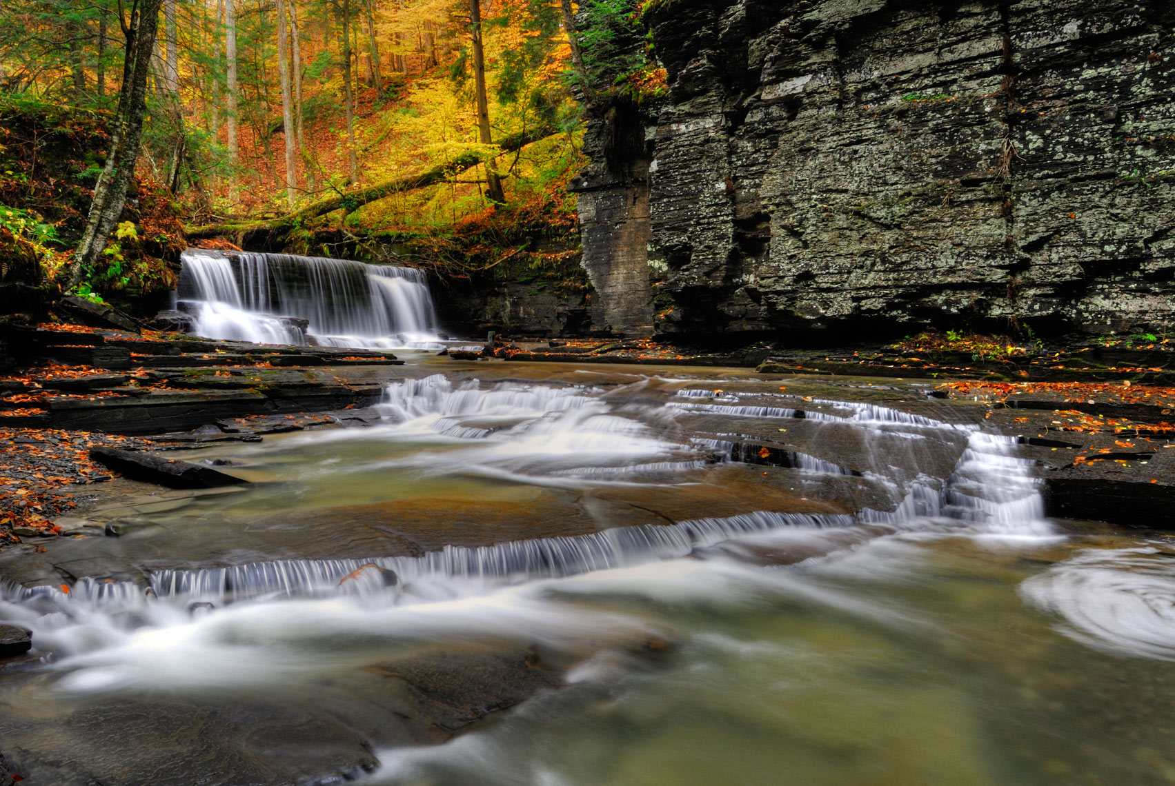 Upper Falls in Autumn, Fillmore Glen State Park, Finger Lakes, New York State