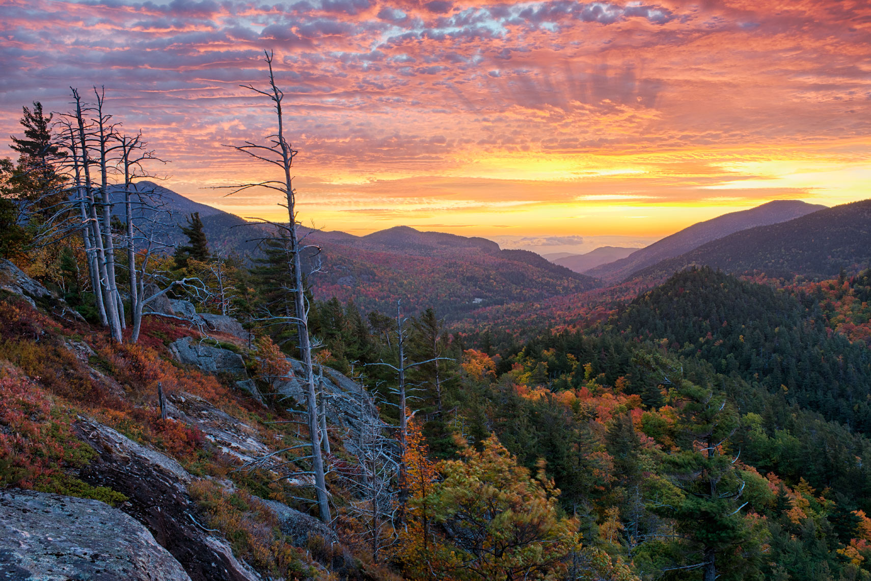 Autumn Sunrise From Baxter Mountain, Adirondack Mountains, New York State