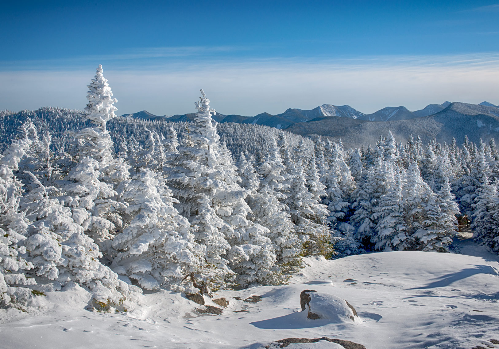 View from the Summit of Cascade Mountain in Winter, Adirondack Mountains, New York State