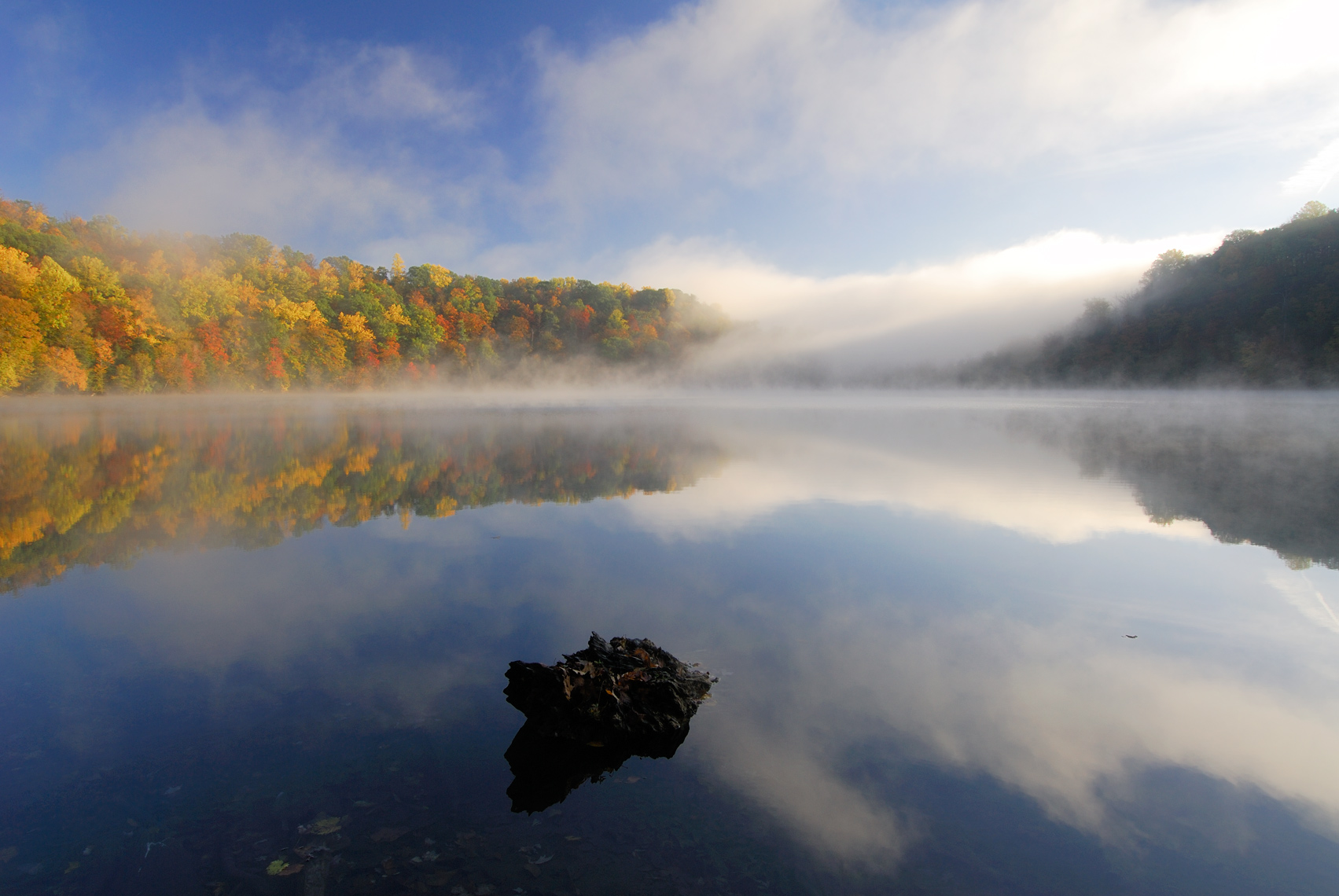 Fog Rolling in on Round Lake in Autumn, Green Lakes State Park, New York