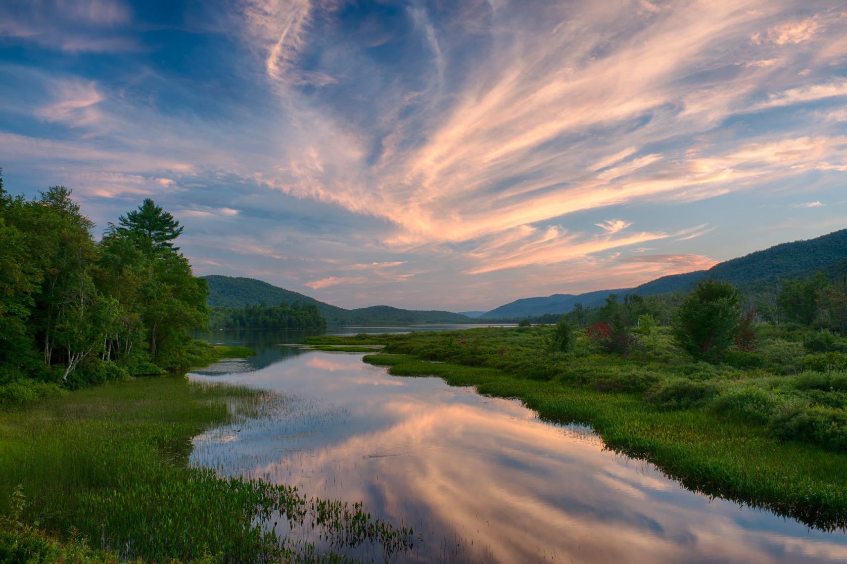 Lewey Lake Outlet on a Summer Evening, Adirondack Mountains, New York State