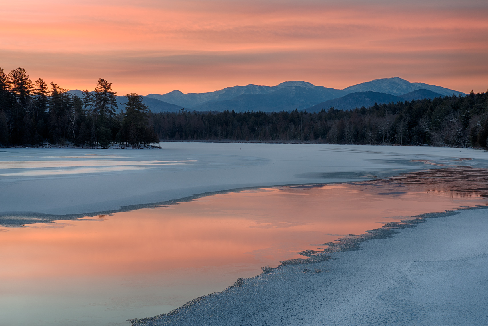 Winter Dawn in the Adirondack Mountains of New York State