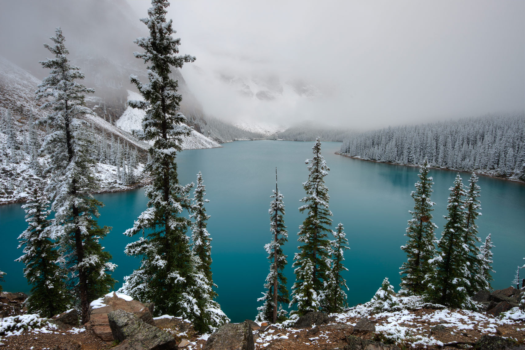 Early Snowfall, Moraine Lake, Banff National Park, Alberta, Canada