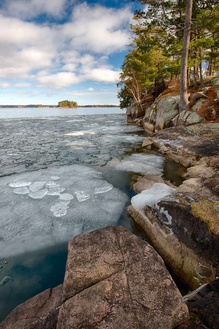 Ice forming on the St. Lawrence River, Thousand Islands, New York