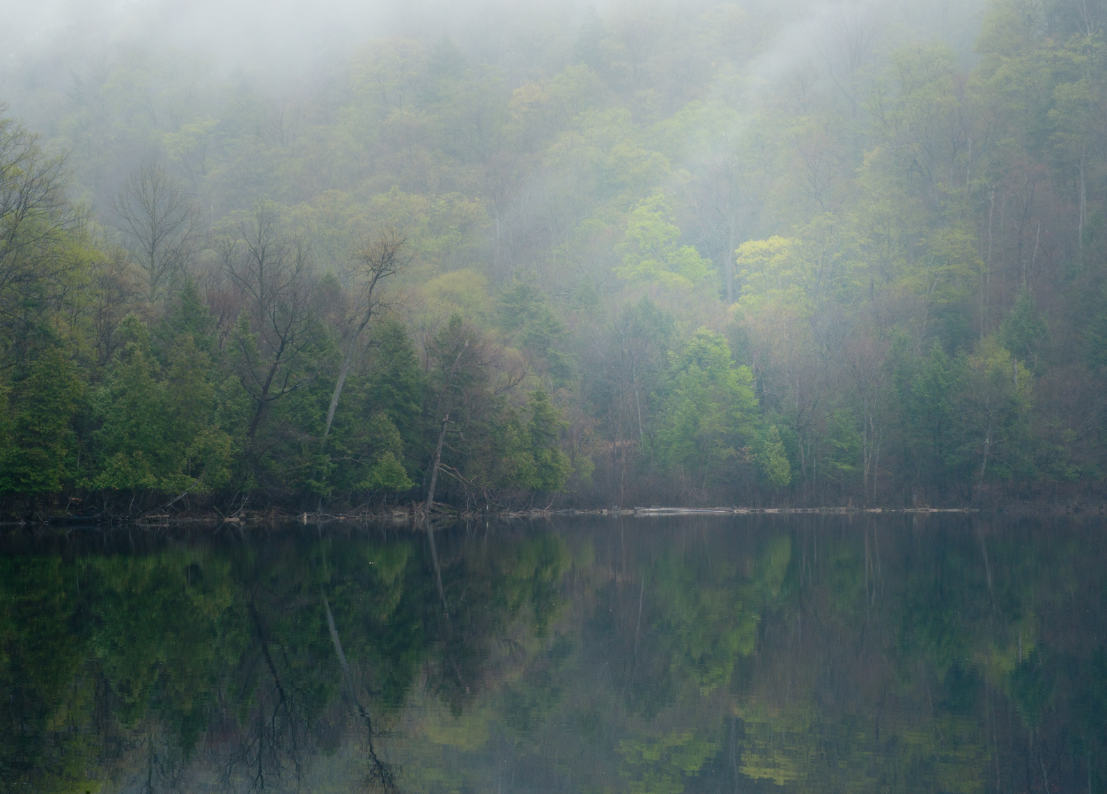 Mist Over Round Lake, Green Lakes State Park, New York State