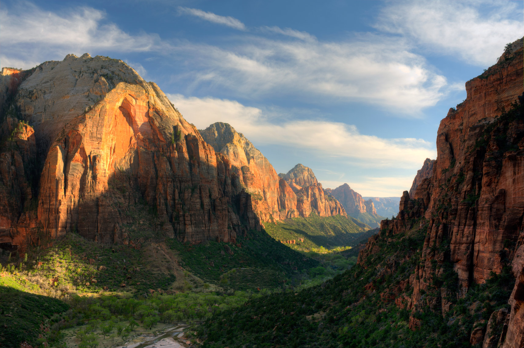 Zion Canyon from Bright Angels Landing Trail, Zion National Park, Utah