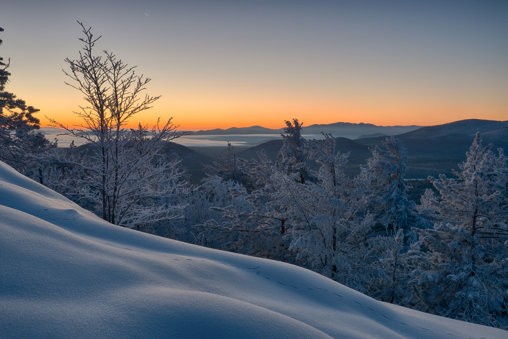Winter Sunrise on Silver Lake Mountain, Adirondack Mountains, New York State