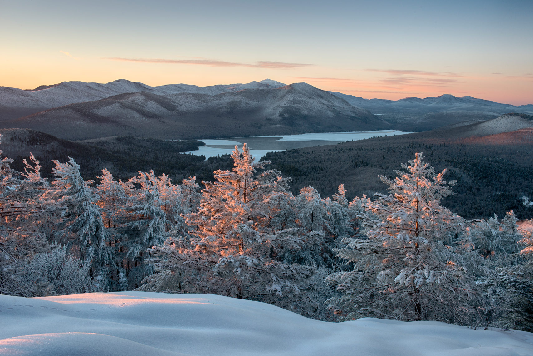 Winter Morning on Silver lake Mountain, Adirondack Mountains, New York State