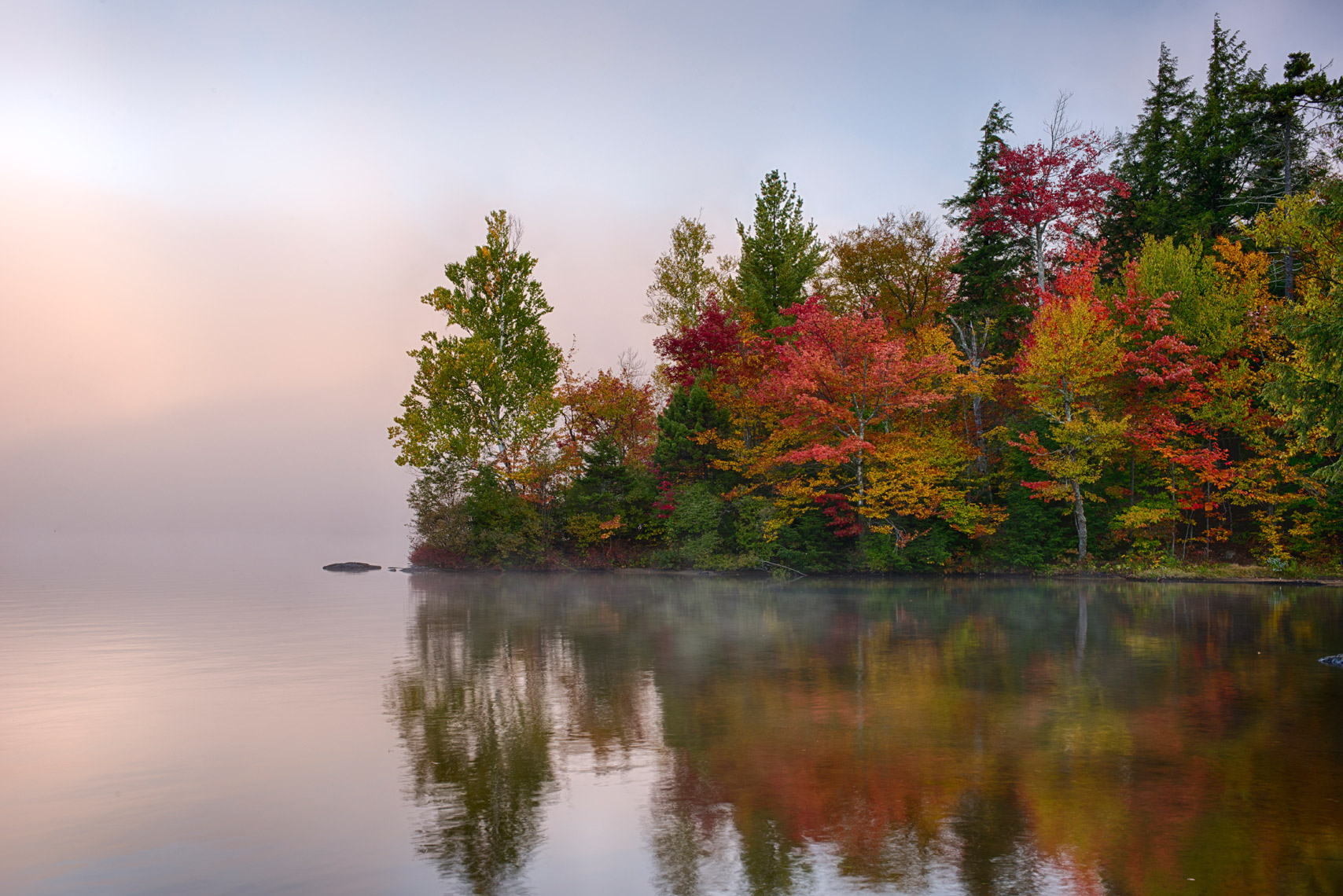 Autumn Morning on Seventh Lake, Adirondack Mountains, New York State