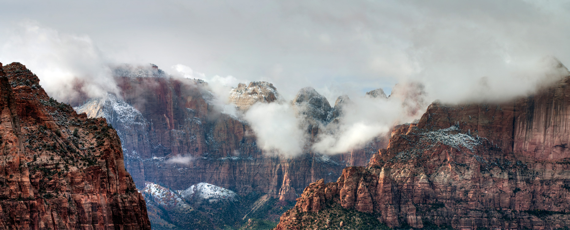 Clearing storm over the West Temple, Zion National Park, Utah