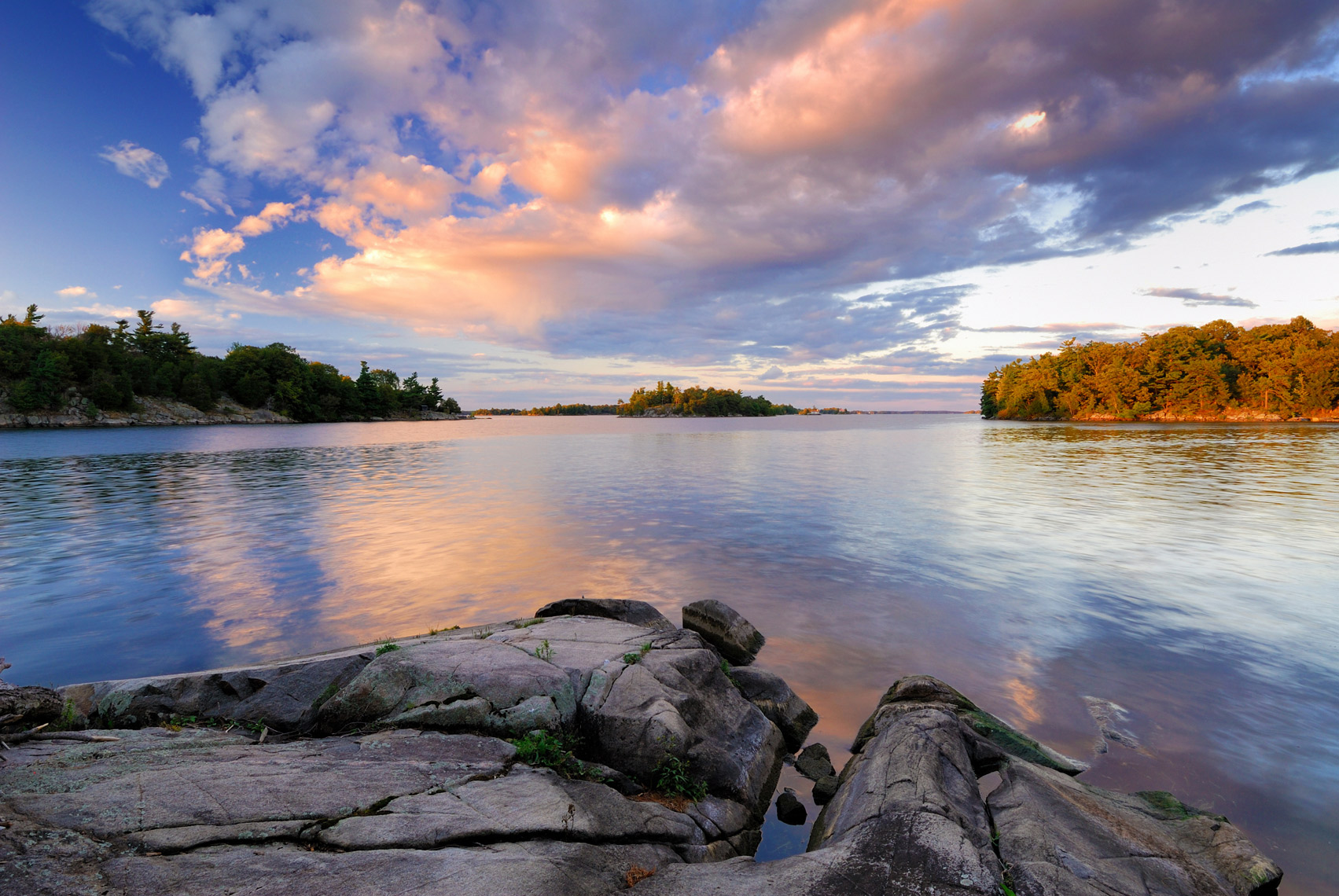 Evening Light from Camelot island, Thousand Islands National Park, Ontario, Canada