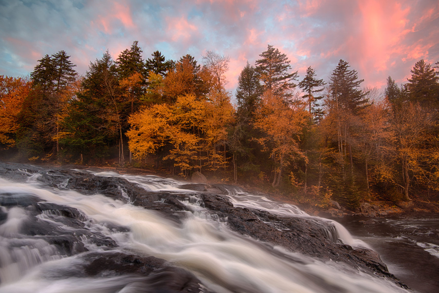 Buttermilk Falls in Autumn, Adirondack Mountains, New York State