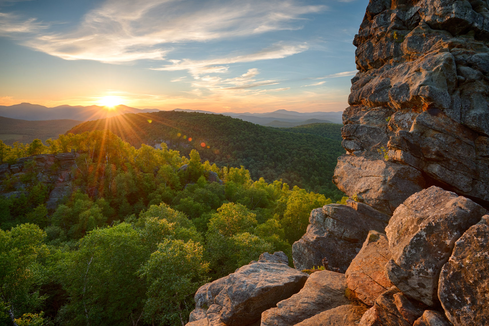 Summer sunset from Chimney Mountain, Adirondack Mountains, New York State